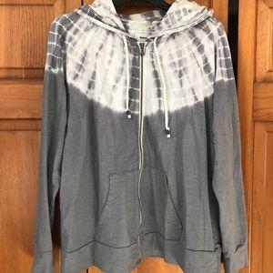 Half tie dye zip up hoodie